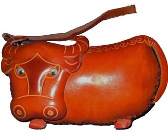 Bull Coin Purse -  Dozer the Bull - Handmade Leather Coin Purse with Wrist Strap - Item #1139