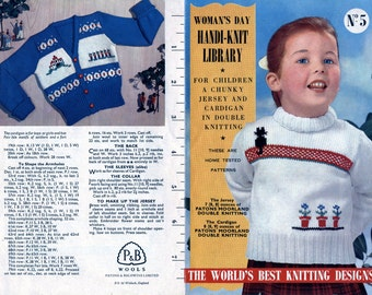 1950s Vintage Knitting Pattern / Children's Fair Isle Chunky Jersey and Cardigan / Original Pamphlet / Woman's Day Handi Knit Library no. 5