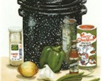 """Gumbo Pot is an 8""""x12"""" signed print of my original watercolor painting.  It is one of 3 of my Cajun Food Scenes available  for purchase."""