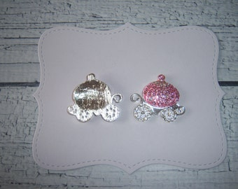 2 pieces:  Pink & Silver Princess Carriage Flatback - Cabochon