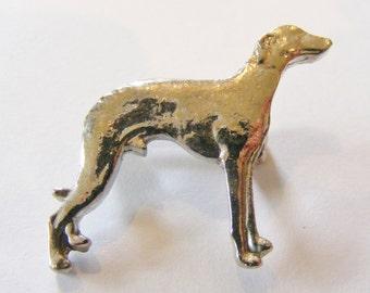 1990's Vintage Male Greyhound Pewter Brooch