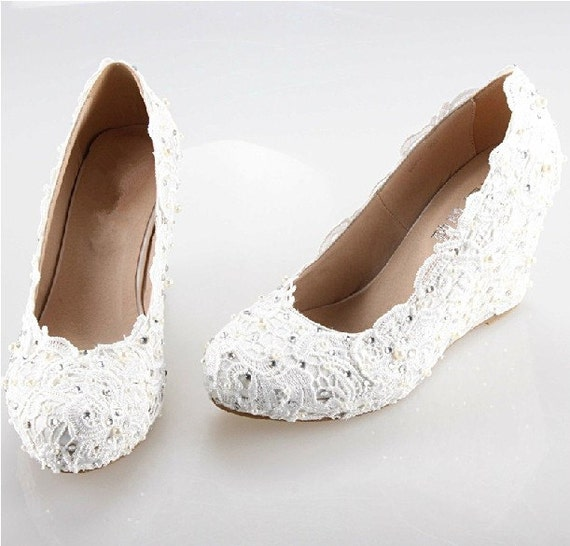 2014 white/Iory lace wedge handmade lace bridal by ...
