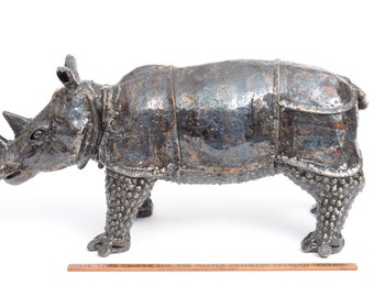 Recycled Metal Rhinoceros- Endangered Animal Home Decor