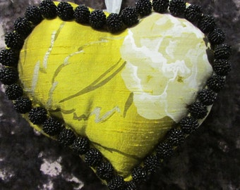 Lush and Opulent Pure silk  lavender filled heart trimmed with black beaded pom poms