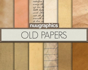 """Old paper digital paper: """"OLD PAPERS"""" with old notebook papers and vintage papers for scrapbooking, invitations, photography"""