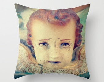 Vintage Cherub Pillow Cover - Angel, Wings, Fantasy, Surreal, Goth, Decor, Home, Bedding
