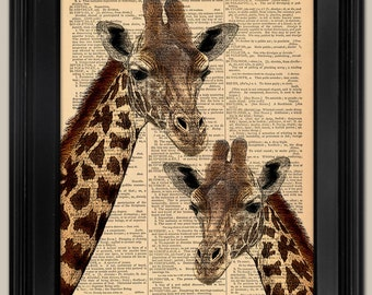 "Giraffes art print. Upcycled vintage book page art print. Print on book page.  Fits 8""x10"" frame."
