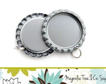 100 Flat Bottle Caps, flattened bottlecap, silver bottlecaps WITH HOLE AND 6mm or 8mm split ring