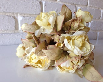 Ivory Cream Roses Bouquet, Silk Flowers