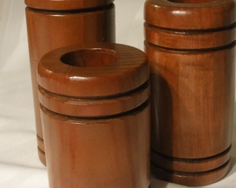 Hand Made Wooden Votive Holders, Set of 3
