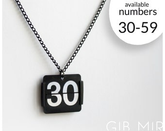 necklace made from an old flip clock (Number 30-59) jewelery