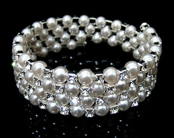 33B 4 Row Bridal SP Rhinestone Crystal White Pearl Coil Bracelet & Gift Box