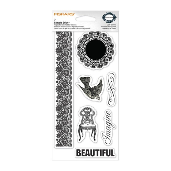 SALE Fiskars Doily Banner, 7 Simple Stick Repositionable Rubber Stamps, All Occasion, Rubber Stamp Set, Bird Beautiful Imagine Doily Banner