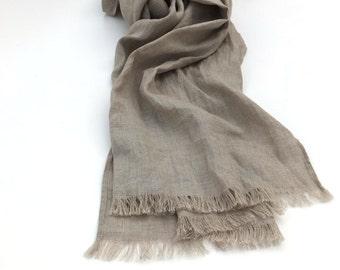 pure linen scarf - natural flax -  women men - extra long