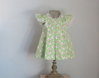 Green Bunny Dress, vintage Mail Order pattern, Size 2