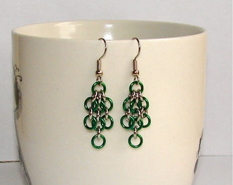 Green Chainmaille Hanging Earrings. Enameled Copper, Stainless Steel.