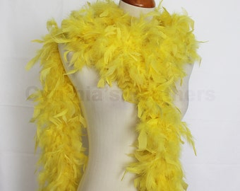 Bright Yellow 65 Grams Chandelle Feather Boa 6 Feet Long Dancing Wedding Crafting Party Dress Up Halloween Costume Decoration. SKU: 7I32