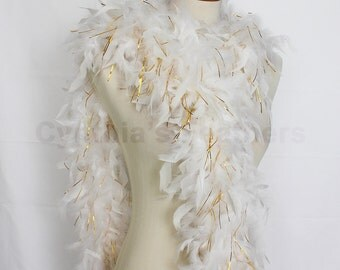 "65g, 72"" white w/ gold tinsel chandelle feather boa for bacheloratte party, wedding, etc. SKU: 5G31"