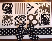 White and black card, with ribbon and patterned paper, white envelope