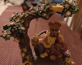 Vintage Bears on a Swing Music Box