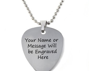 Custom Engraved Personalized Stainless Steel Guitar Pick Necklace