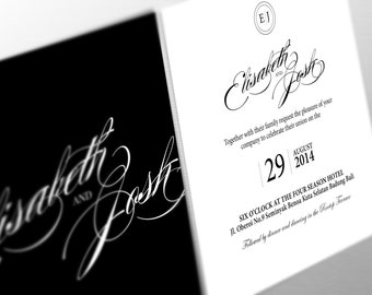 DIY Printable Wedding custom Invitation Stationary Set – Classic black and white Elisabeth