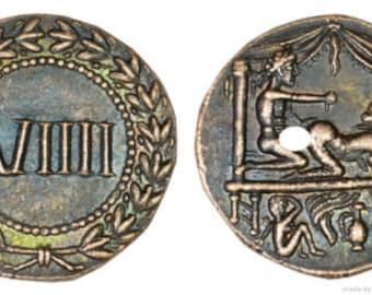 Roman Spintria Brothel Entry Token VIIII Bronze