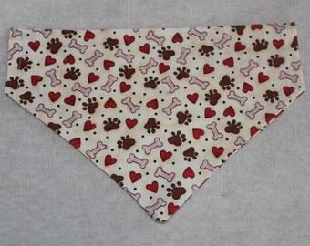 Pawprints, Bones, and Hearts Dog Bandana in Small, Medium & Large