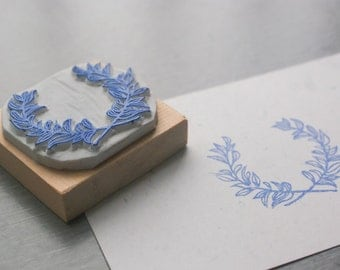 Garland Label Stamp. Blank Label Stamp. hand carved stamp. rubber stamp. mounted.