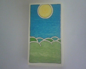 """Card """"Mountains and Sun""""  marker on paper"""