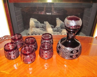 Enter Coupon Code DISCOUNT20 for 20% Off - Gorgeous Bohemian Decanter Set in Red Cut to Clear