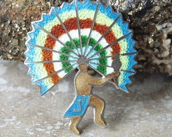 Fuentes - Mexican Sterling and Colorful Enamel Aztec Warrior Pin / Brooch