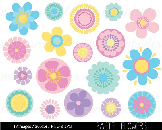 Flower clipart clip art pink flowers pastel flowers retro etsy image 0 mightylinksfo