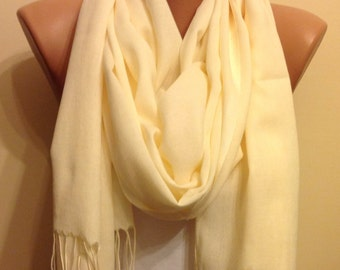 Light Yellow Scarf,Off white scarf,Fringed Scarf ,Stylish Scarf,Accessory,Women Fashion,Bridesmaid,Modern,Accessorise,fashion