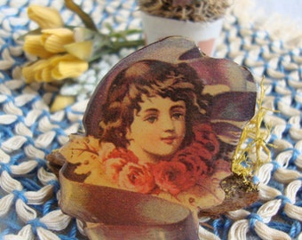 Victorian Girl Ribbons and Roses ~ Resin Pin