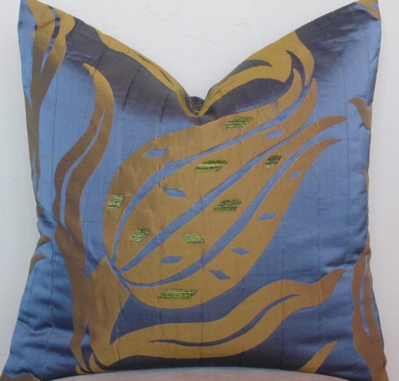 Decorative Quilted Pillow Covers : Blue Decorative Pillow Cover Quilted Blue Satin by SewWhatAlley