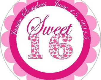 Personalized Sweet 16  Party Labels