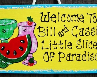 LITTLE SLICE Of PARADISE Personalized Name Sign Tropical Tiki Bar Deck
