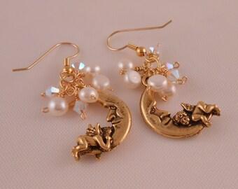Pearl and Moon Earrings
