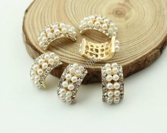 6 pcs Arc-shaped Pearl Rhinestone Button For Ribbon Bow / Hair & Jewelry Accessory