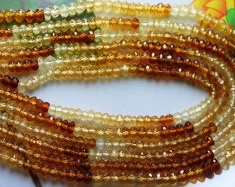 13.5 Inch Strands, AAA Shaded Hessonite Garnet Faceted Rondelles, 3.5mm
