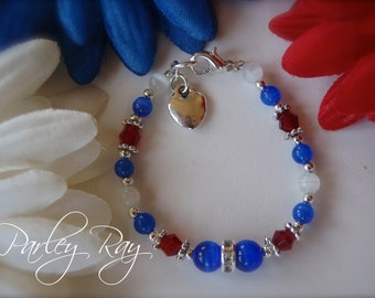 Beautiful Custom Baby Girls Fourth of July Bracelet with Crystals, Cat Eye Beads and Heart Charm