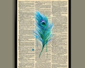 Feather Upcycled Dictionary Art Vintage Book Print Recycled Vintage Dictionary Page Buy 2 Get 1 FREE - ColorInk