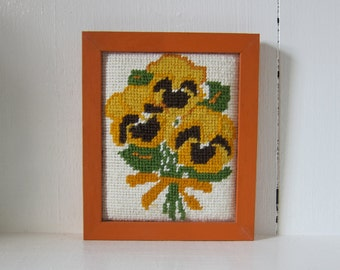 Vintage Flower Needlepoint Wall Piece Pansies Orange Small