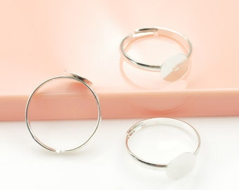 Silver Ring--100pcs Shiny Silver Ring Base Adjustable with 8mm Round Pad accessirose