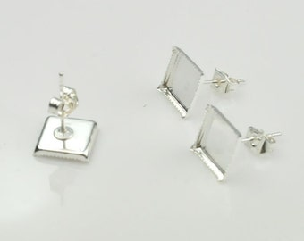 40 pcs (20 pairs Set) Earring Posts Back Stoppers Silver Tone 8 x 8 mm Square Pad Findings,blank Settings.