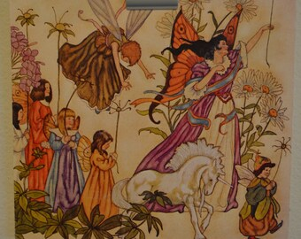 Vintage 1980s Dry Mounted Poster Art: Fantasy Fairies with Unicorn