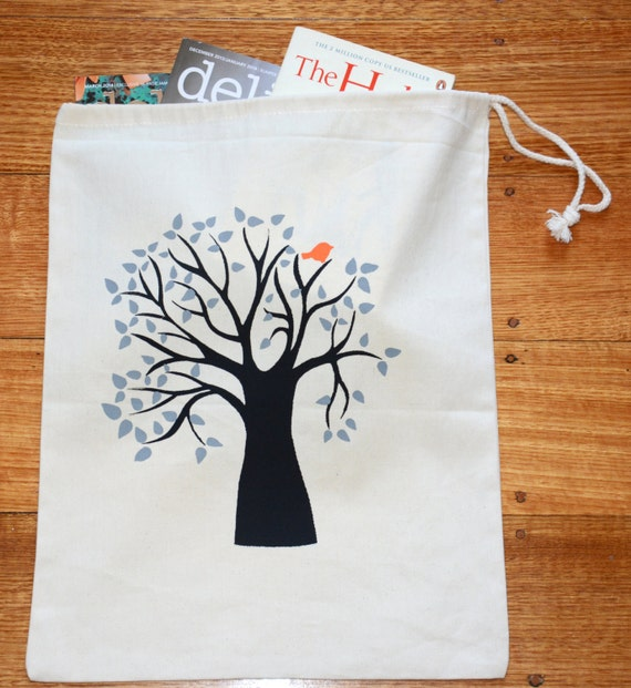 image drawstring bag tote tree screen printed my friend marcia