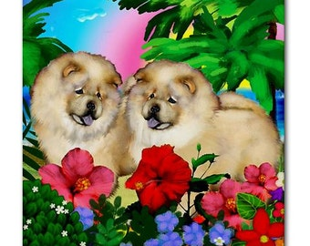 Cream CHOW CHOW DOG Sunset Beach Art Ceramic Tile Coaster