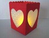 Tea Light Votive Lantern with Hearts